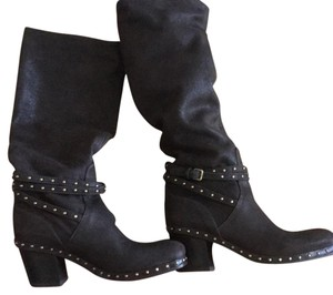Miu Miu Studded Soft Leather Brown Boots