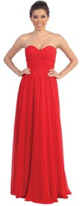 Red Strapless Bridesmaid With Twist Knot Bust Dress