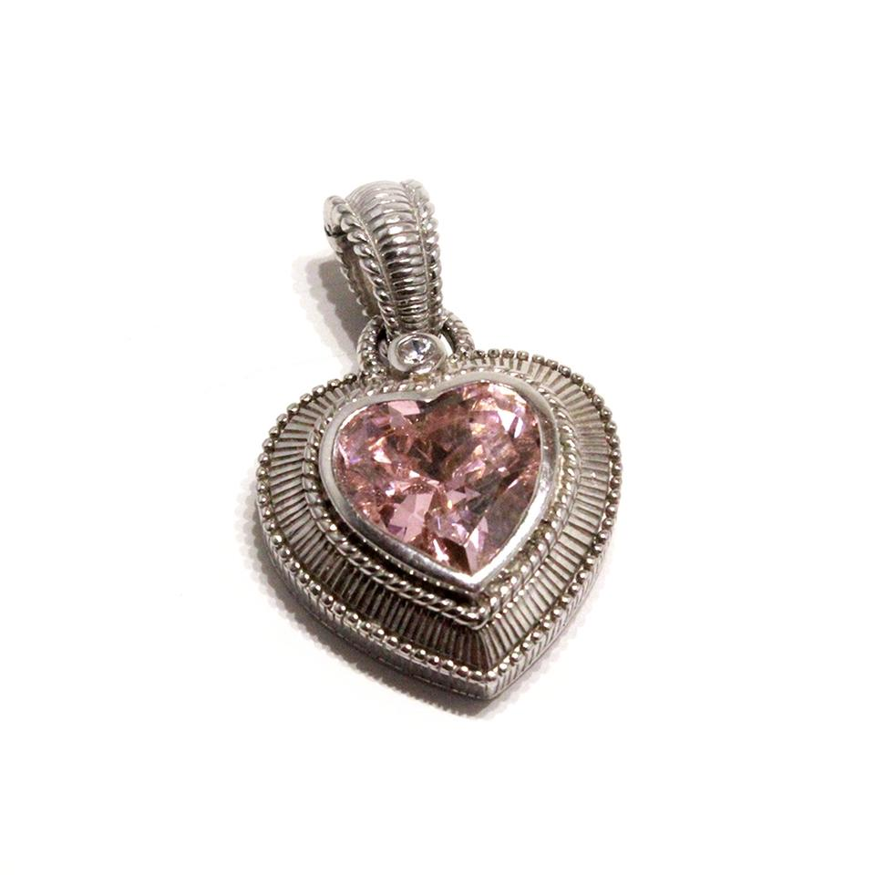 Judith ripka sterling silver sparkling pink heart enhancer pendant judith ripka judith ripka sterling silver sparkling pink heart enhancer pendant aloadofball Image collections