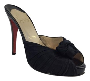 Christian Louboutin Satin Black Mules