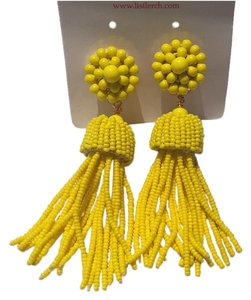 Lisi Lerch Beaded Tassel Earrings Clip On