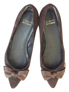 Stuart Weitzman Bows Pointed Toe Velvet Chocolate Flats