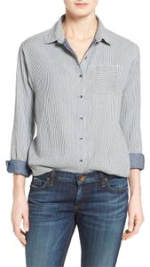 Caslon Button Down Shirt Blue Stripe