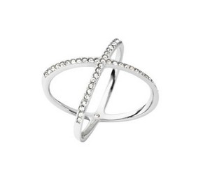Michael Kors Michael Kors Silver Pave Clear Crystal X Ring size7 with dust bag