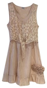 Charming Charlie short dress Beige Lace Neutral Color Ruffles Easy Care Short Sleeve on Tradesy