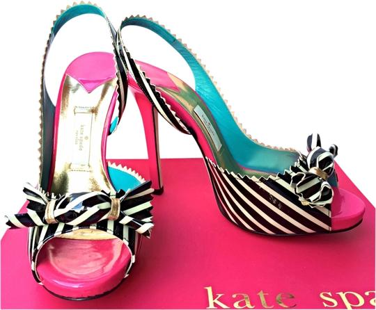 Kate Spade Out Fun Night New York Stripes Rare Pink Black Cream Turquoise Gold White Pumps