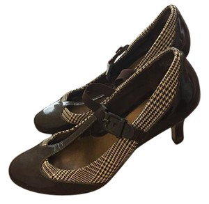 Circa Joan & David Vintage Patchwork Pump Chocolate with plaid Pumps
