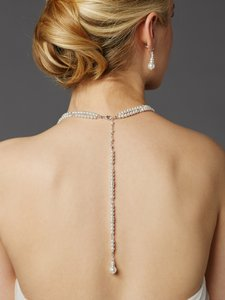 Mariell Two-row Glass Pearl Back Necklace With Dramatic Backdrop 4472n-w-s