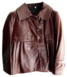 Sportmax Leather Poplin Brown Leather Jacket
