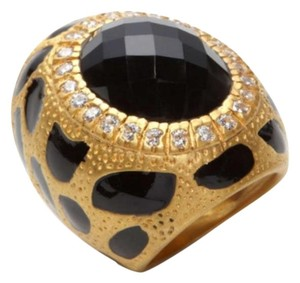 Aditi Daga Aditi Daga ~ Black Stone and Enamel Print Ring ~ Size 7 ~ New ~