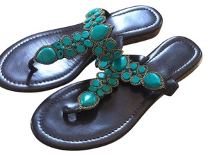 Soft Surroundings Turquoise with brown. Sandals