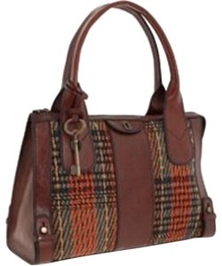 Fossil Vintage Revival Vintage Reissue Top Zip Weekender Satchel in Brown, Multi