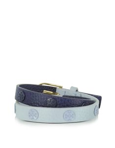 Tory Burch Double Wrap Logo Stud Colorblock Bracelet Nwt luna royal navy
