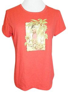 White Stag Polynesian Girl Crystals Medium T Shirt Coral