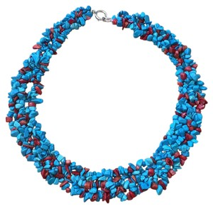 Chico's Turquoise And Coral Bib Necklace