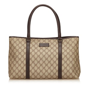 Gucci Beige Brown Leather Tote