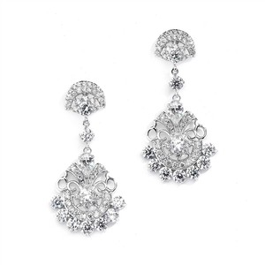 Mariell Vintage Glam Cz Bridal Earrings 4375e-s