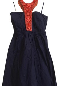 Judith March short dress Navy blue Halter Beaded Necklace Blue Orange on Tradesy