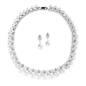 Mariell Glamorous Cz And White Pearl Wedding Necklace And Earrings Set 4367s-w-s