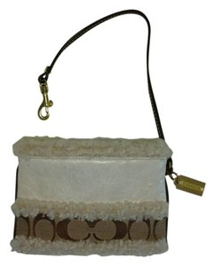 Coach Wristlet in White & brown