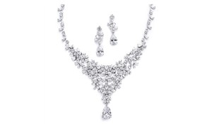 Mariell Red Carpet Cz Wedding Or Pageant Statement Necklace Set 4377s-s