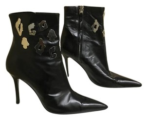 Versace Leather Medusa Head Logo Silver Hardware Black Boots