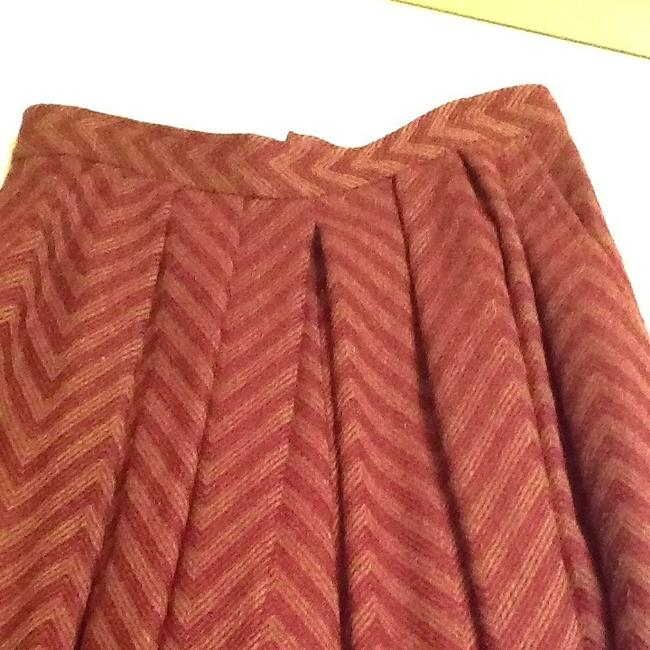 Couture Anne Klein Skirt Olive Green And Burgundy