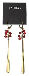 Express Earings - Red Beads With Gold