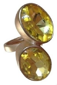 Brushed Goldtone Cocktail Ring ~ Two Yellow Faceted Oval Stones