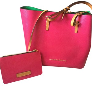 Dooney & Bourke Tote in Fuchsia & Kelly Green