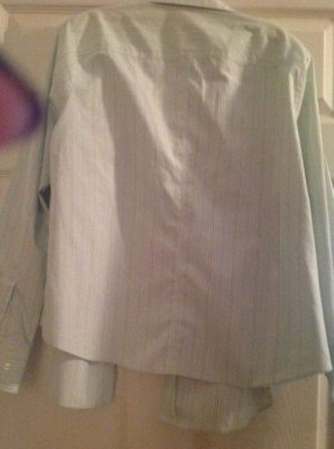 August Max Woman Button Down Shirt Mint green/white and blue stripes