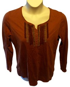 Eddie Bauer Longsleeve Cotton Stretchy Casual Pullover Top Rust Brown