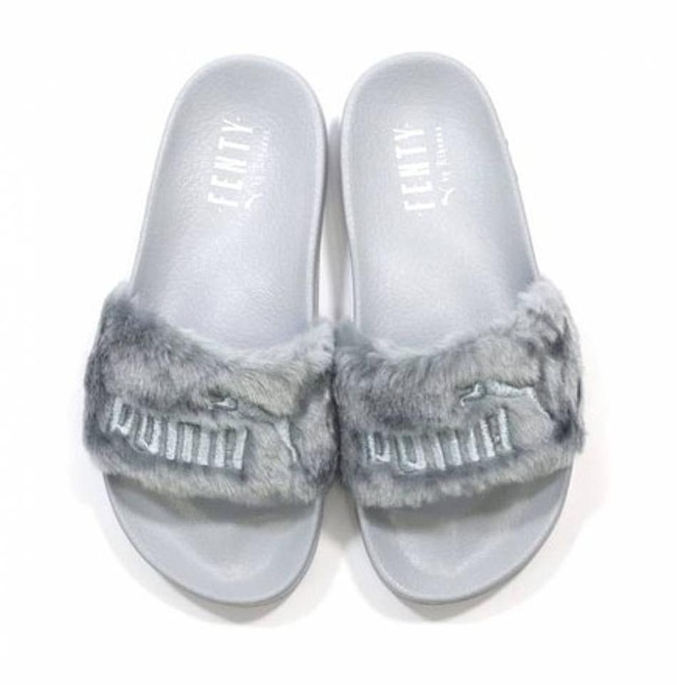 995c115d3 Puma Gray New Rihanna Fenty Leadcat Fur Slides Sandals Size US 6.5 ...