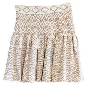 Torn by Ronny Kobo Mini Skirt White and tan