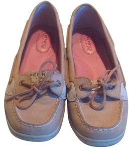 Sperry Tan leather w/pink checked fabric w/clear sequins Flats