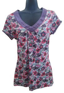 Boden Floral Knit Casual Cotton Top Multicolored