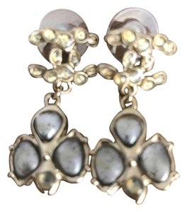 Chanel CHANEL AUTHENTIC NWT GRAYISH STONE DROP EARRINGS