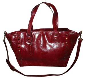 Cynthia Rowley Studded Leather Crossbody Tote in red
