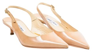 Jimmy Choo Chic Luxury Patent Leather Kitten Slingback Nude Pumps
