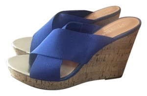 Charles by Charles David Stretch Fabric Upper Blue Wedges