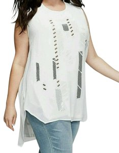 Melissa McCarthy Lane Bryant Chiffon Sequin Top Ivory