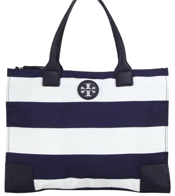 Item - Ella Printed Packable Navy Blue and White Nylon Tote