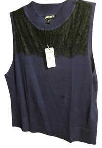 Express Top Navy blue with black lace