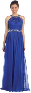 Royal Blue Floor Length Prom Dress With Halter Neck And Rhinestones Dress