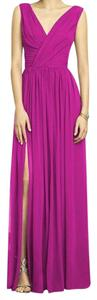 Dessy Full Length Chiffon Strapless Pink Bridesmaid Dress