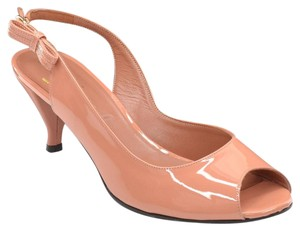 Robert Clergerie Peep Toe Slingback Heels Made In France Orok Blush Pumps