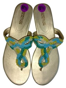 Kenneth Cole Leather Beaded Gold beaded Sandals