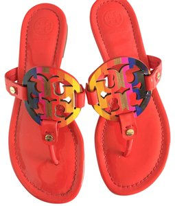 Tory Burch Red with Rainbow logo Sandals