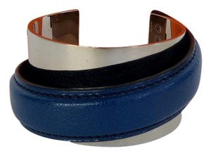 Hermès Hermes Palladium and Blue Leather Wide Cuff In Box - RARE