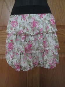 Rue 21 Floral Tiered Lace Casual Mini Skirt Multicolored